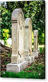 Memphis Elmwood Cemetery Monument - Four In A Row Acrylic Print by Jon Woodhams