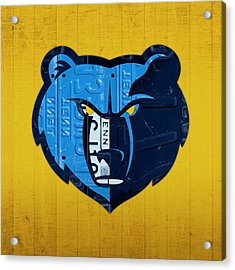 Memphis Grizzlies Basketball Team Retro Logo Vintage Recycled Tennessee License Plate Art Acrylic Print by Design Turnpike