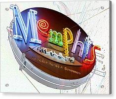 Memphis Sign Acrylic Print by Liz Leyden