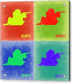 Memphis Pop Art Map 2 Acrylic Print by Naxart Studio