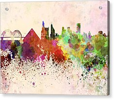 Memphis Skyline In Watercolor Background Acrylic Print by Pablo Romero