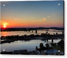 Memphis Sunset On The Mississippi 001 Acrylic Print by Lance Vaughn