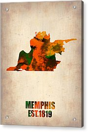 Memphis Watercolor Map Acrylic Print by Naxart Studio