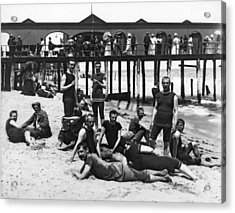 Men Bathers By The Boardwalk Acrylic Print by Underwood Archives