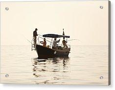 Men Go Fishing From A Boat Acrylic Print by Serhii Odarchenko