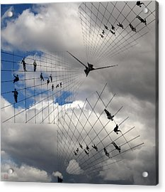 Men Hanging On Acrylic Print by Roger Smith