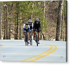 Men In A Bike Race Acrylic Print by Susan Leggett