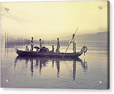 Men In A Canoe In The Bay Of Ambon, Indonesia Acrylic Print