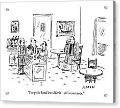 Men In A Restaurant Discuss A Patron Whose Feet Acrylic Print
