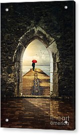 Men In Pier Acrylic Print by Carlos Caetano
