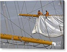 Men Repairing Sail Of Three-masted Sailboat Acrylic Print by Sami Sarkis