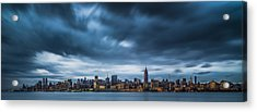 Menacing Sky Over Manhattan Acrylic Print by Chris Halford