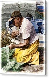 Mending The Net - Catania Sicily Acrylic Print by Jon Berghoff