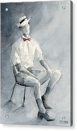 Mens Fashion Illustration Art Print Hat And Bowtie Acrylic Print by Beverly Brown