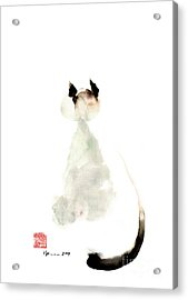 Meow Curious Cute Kitten Little Cat Watercolor Painting Funny Cats Acrylic Print