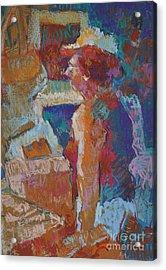 Mercado Lady Viewing Paintings Acrylic Print