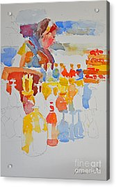 Mercado Lady With Bottles Acrylic Print