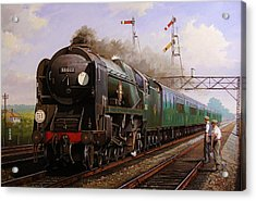Merchant Navy Pacific At Brookwood. Acrylic Print by Mike  Jeffries