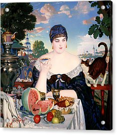 Merchant's Wife At Tea Acrylic Print by Mountain Dreams