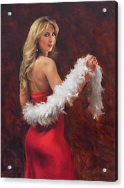 Meri In Red Acrylic Print by Anna Rose Bain