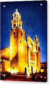 Merida Cathedral Glowing At Night Acrylic Print by Mark Tisdale