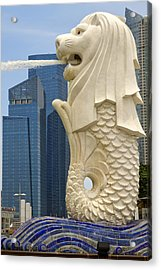 Merlion Statue By Singapore River Acrylic Print by David Gn
