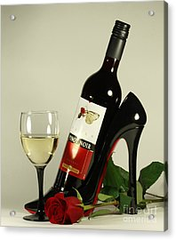 Merlot Wine And Red Rose Acrylic Print by Inspired Nature Photography Fine Art Photography