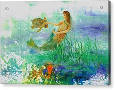 Mermaid And Baby Loggerhead Turtle Acrylic Print by Nancy Gorr