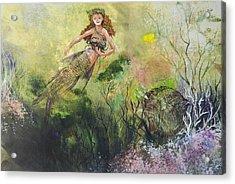 Mermaid And Friends Acrylic Print by Nancy Gorr
