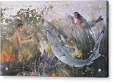 Mermaid And Neptune Acrylic Print by Nancy Gorr