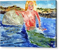 Acrylic Print featuring the painting Mermaid And The Buoy by Michael Helfen