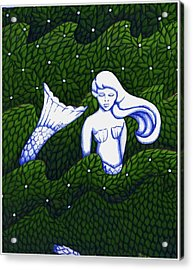 Acrylic Print featuring the mixed media Mermaid At The Garden by Donna Huntriss