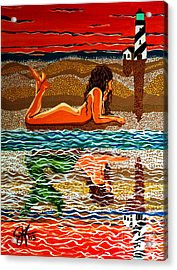 Acrylic Print featuring the painting Mermaid Day Dreaming  by Jackie Carpenter