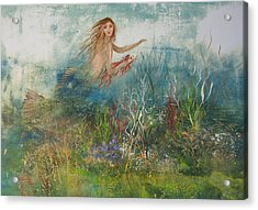 Mermaid In A Sea Garden Acrylic Print by Nancy Gorr