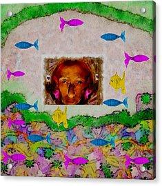 Mermaid In Her Cave Acrylic Print by Pepita Selles
