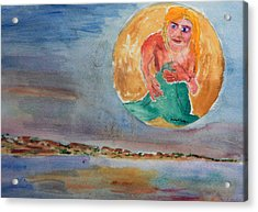 Mermaid In The Moon Acrylic Print
