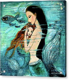 Mermaid Mother And Child Acrylic Print by Shijun Munns
