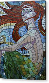 Mermaid Multi-colored Glass Mosaic  Acrylic Print