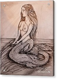 Mermaid On Rock Acrylic Print by Valarie Pacheco