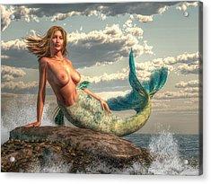 Mermaid On The Rocks Acrylic Print