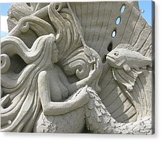 Mermaid Sand Sculpture Acrylic Print