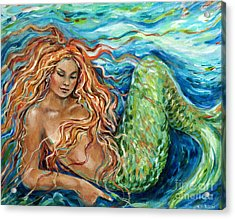 Mermaid Sleep New Acrylic Print by Linda Olsen