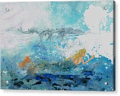 Mermaid Swimming With Dolphins Acrylic Print by Nancy Gorr