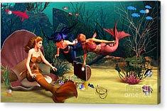 Mermaid Treasures Acrylic Print by Methune Hively