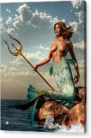 Mermaid With Golden Trident Acrylic Print