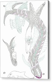 Mermaids And Sea Dragons Acrylic Print by Helen Holden-Gladsky