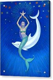 Mermaids- Dolphin Moon Mermaid Acrylic Print