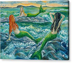 Mermaids On The Rocks Acrylic Print