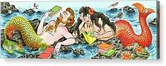 Mermaids  Reading Books Acrylic Print