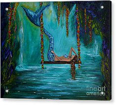 Mermaids Tranquility Acrylic Print by Leslie Allen